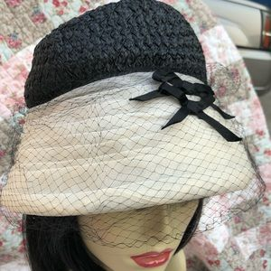 Vintage Hat ruffled tulle woven Cloche bows